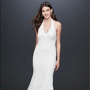 Low Back Eyelash Lace Halter Sheath Dress